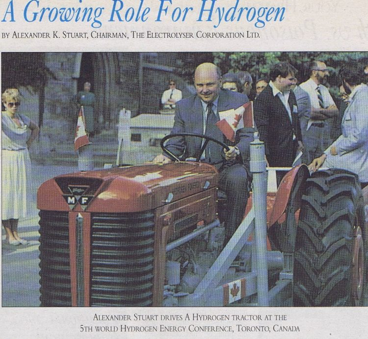 A newspaper clipping discussing hydrogen productions role in the future