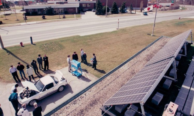 An ariel picture of a solar hydrogen generator set up outside of a factory